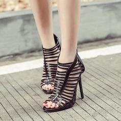 Kvinnor Konstläder Stilettklack Sandaler Pumps Peep Toe Boots med Zipper Ihåliga ut skor