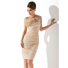 Sheath/Column One-Shoulder Knee-Length Chiffon Cocktail Dress With Ruffle Flower(s) (016008270)