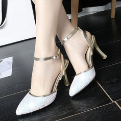 Women's Leatherette Stiletto Heel Sandals With Sparkling Glitter Buckle shoes (087114490)