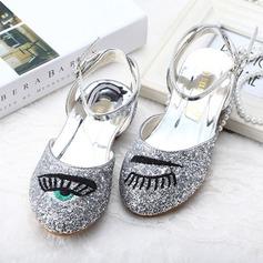 Fille de Bout fermé Glitter mousseux talon plat Chaussures plates Chaussures de fille de fleur avec Boucle Pailletes scintillantes Motif appliqué