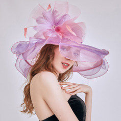 Ladies' Glamourous/Elegant/Eye-catching Organza With Feather Beach/Sun Hats/Kentucky Derby Hats/Tea Party Hats