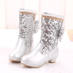 Girl's Mid-Calf Boots Leatherette Flat Heel Boots Flower Girl Shoes With Beading Bowknot Sequin Zipper