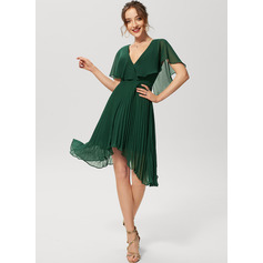 A-Line V-neck Asymmetrical Chiffon Cocktail Dress With Pleated (016230175)