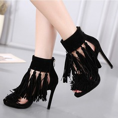 Women's Suede Stiletto Heel Sandals Flats Peep Toe With Tassel shoes