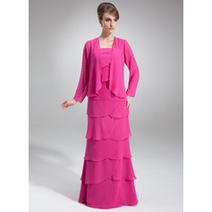 A-Line/Princess Square Neckline Floor-Length Chiffon Mother of the Bride Dress With Cascading Ruffles