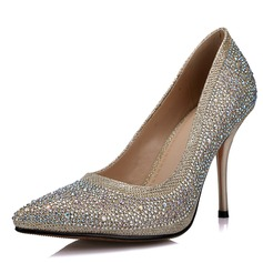 Mulheres Espumante Glitter Salto agulha Fechados Bombas com Strass