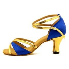 De mujer Satén Cuero Sandalias Danza latina con Agujereado Zapatos de danza