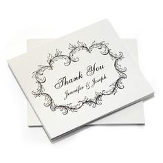 personnalisé Conception Florale Papier Merci des cartes (Lot de 10)