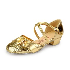 Kids' Leatherette Sparkling Glitter Heels Pumps Ballroom With Ankle Strap Dance Shoes