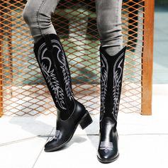 Donna PU Tacco spesso Stivali Stivali al ginocchio con Animale Stampa scarpe