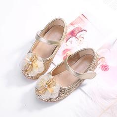 Mädchens Round Toe Geschlossene Zehe funkelnden Glitter Flache Schuhe mit Bowknot Klettverschluss