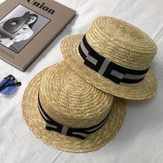 Unisex Nice Rattan de palha com Bowknot Chapéu de palha/Chapéus praia / sol