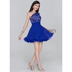A-Line/Princess One-Shoulder Short/Mini Chiffon Homecoming Dress With Ruffle