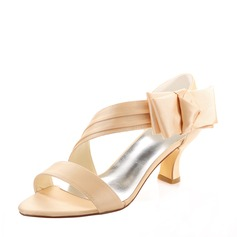 Women's Silk Like Satin Chunky Heel Peep Toe Sandals With Flower