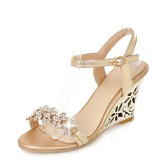 Women's PU Wedge Heel Sandals Pumps Wedges Peep Toe Slingbacks With Rhinestone shoes (116151012)