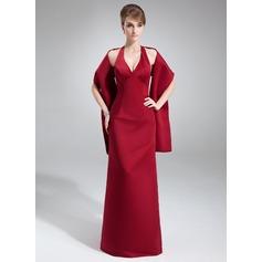 Vestido tubo Cabestro Hasta el suelo Satén Dama de honor