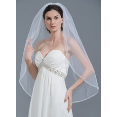 One-tier Beaded Edge Fingertip Bridal Veils With Beading (006109855)