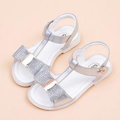 Fille de À bout ouvert similicuir talon plat Chaussures plates Chaussures de fille de fleur avec Bowknot Velcro Cristal