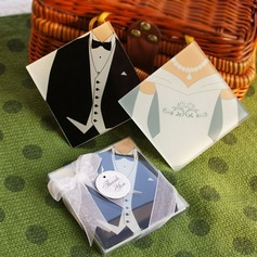 Tuxedo & Gown Glass Coaster With Ribbons (Set of 2 pieces)
