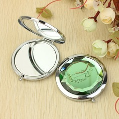 "Personalized ""Best Wishes"" Stainless Steel Compact Mirror"