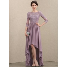 A-Line Scoop Neck Asymmetrical Chiffon Lace Mother of the Bride Dress With Ruffle