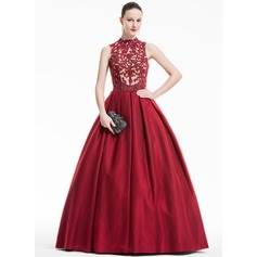 Ball-Gown High Neck Floor-Length Tulle Prom Dresses With Ruffle Beading Sequins