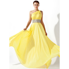 A-Line One-Shoulder Floor-Length Chiffon Prom Dresses With Ruffle Beading (018020583)