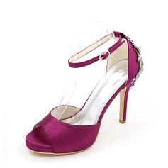 Women's Silk Like Satin Stiletto Heel Sandals With Rhinestone (047137663)