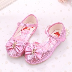Girl's Closed Toe Sparkling Glitter Flat Heel Flats Flower Girl Shoes With Bowknot Velcro