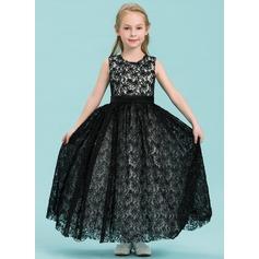 Forme Princesse Longueur cheville Robes à Fleurs pour Filles - Satiné/Dentelle Sans manches Col rond avec Brodé/Fleur(s)