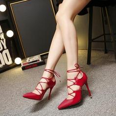De mujer Cuero Tacón stilettos Salón Cerrados con Cordones zapatos