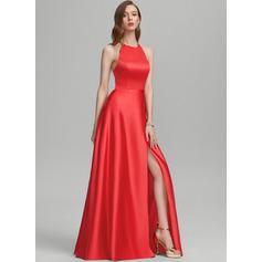 A-Line Scoop Neck Floor-Length Satin Prom Dresses With Split Front Pockets