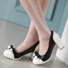 De mujer Cuero Tacón ancho Salón Cerrados con Bowknot Material Block zapatos