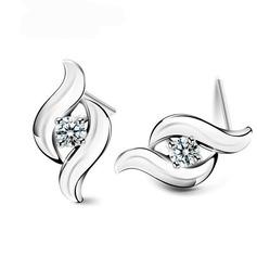 Elegant Sterling Silber mit Kristall Damen Ohrringe