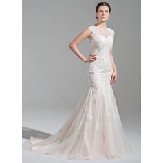 Trompete/Sereia Decote redondo Cauda de sereia Tule Vestido de noiva com Beading Apliques de Renda lantejoulas