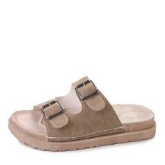 Kvinner Lær Flat Hæl Sandaler Flate sko Titte Tå Slingbacks Tøfler med Button sko