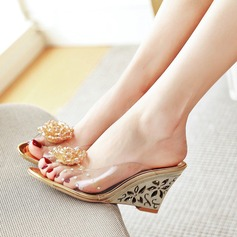 Women's Leatherette Wedge Heel Sandals With Rhinestone Flower