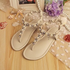 Girl's Peep Toe Leatherette Low Heel Sandals Flats Flower Girl Shoes With Crystal Pearl