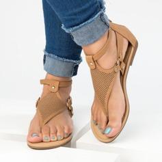 Femmes Similicuir Talon plat Sandales Chaussures plates À bout ouvert Escarpins avec Rivet chaussures