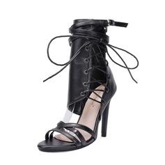 Frauen PU Stöckel Absatz Absatzschuhe Stiefel Peep Toe Stiefel-Wadenlang mit Reißverschluss Zuschnüren Schuhe