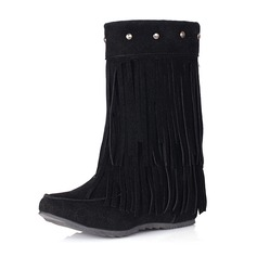 Women's Suede Wedge Heel Closed Toe Boots Ankle Boots With Rivet Tassel shoes