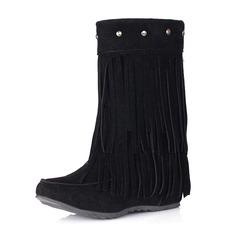 Donna Camoscio Zeppe Punta chiusa Stivali Stivali alla caviglia con Rivet Nappa scarpe