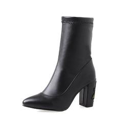Femmes PU Talon bottier Escarpins Bout fermé Bottes mi-mollets avec Fleur en satin chaussures
