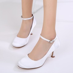 Women's Silk Like Satin Stiletto Heel Closed Toe Pumps With Buckle
