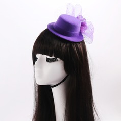 Senhoras Lovely Flor de seda/Tule com Bowknot Fascinators