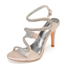 Women's Silk Like Satin Stiletto Heel Peep Toe Pumps Sandals With Rhinestone