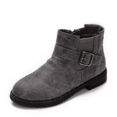 Ragazze Pelle vera Heel piatto Punta chiusa Stivali alla caviglia Stivali con Fibbia Cerniera