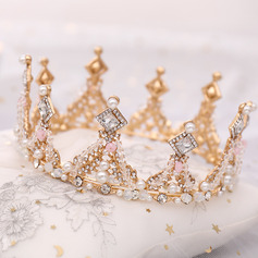 Ladies High Quality Rhinestone/Alloy/Pearls Tiaras (Sold in single piece)