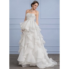 Forme Princesse Amoureux Balayage/Pinceau train Organza Dentelle Robe de mariée