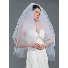 2 couches Bord de coupe Voile de mariée longueur coude